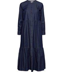 dress in soft denim w. long sleeve maxiklänning festklänning blå coster copenhagen
