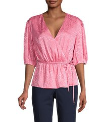 rebecca minkoff women's mary puff-sleeve wrap peplum top - punch pink - size xxl