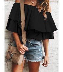 off shoulder flounce tunic blouse