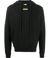 off-white disrupted font slim-fit hoodie - black