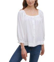 calvin klein seersucker button-down blouse