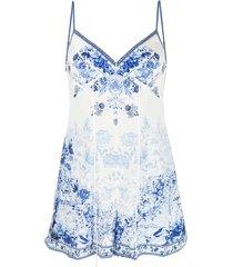 camilla floral-print silk playsuit - white