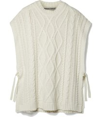 net sustain vasco cable-knit recycled merino wool-blend poncho