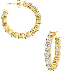 14k goldplate & cubic zirconia celebration hoop earrings