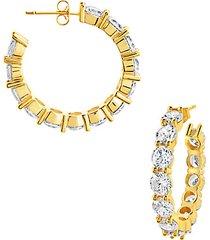14k goldplate & cubic zirconia celebration hoop earrings