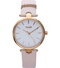orologio cinturino pelle rosa con catenina, cassa acciaio oro per donna