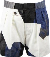 maison margiela cotton patchwork shorts