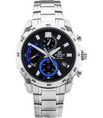reloj casio edifice efr-557cd-1a lujoso para caballero plata/azul