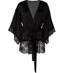 szlafrok a'la kimono z obszyciem koronką