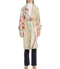 women's etro leaf print wool & cashmere coat, size 4 us / 40 it - white
