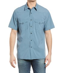 filson twin lakes short sleeve snap front shirt, size large in slate blue at nordstrom