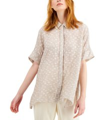 alfani textured button-front top, created for macy's
