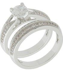 anel dona diva semi joias duplo ródio claro