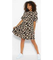 positiekleding gesmokte jurk met luipaardprint, meerdere