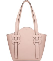 chloé darryl tote in rose-pink leather