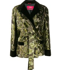 f.r.s for restless sleepers printed silk blend jacket - gold