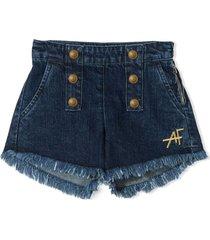 alberta ferretti blue cotton shorts