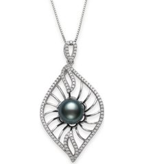 """cultured black tahitian pearl 9-10mm and cubic zirconia drop pendant in sterling silver with 18"""" chain"""