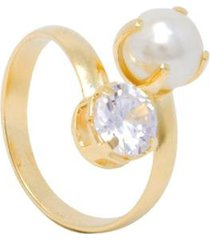 anel 2 pedras semijoia banho de ouro 18k zirconia e perola ajustavel - feminino