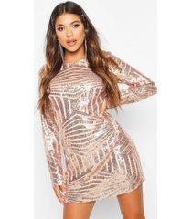 boutique sequin mesh bodycon dress, rose