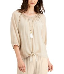 jm collection gauze necklace tie-front top, created for macy's