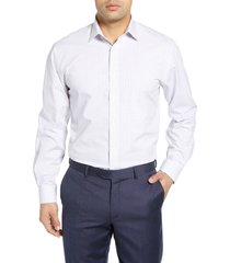 men's nordstrom men's shop tech-smart traditional fit check stretch dress shirt, size 17.5 - 34/35 - white