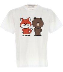 maison kitsuné line friends graphic-print t-shirt