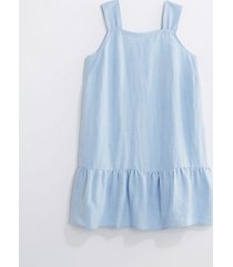 loft loft plus chambray square neck flounce dress