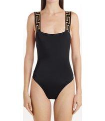 women's versace greca strap one-piece swimsuit, size 1 - black
