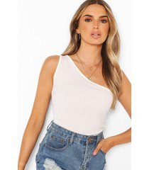 ribbed one shoulder top, ivory