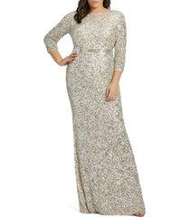 plus size women's mac duggal sequin column gown, size 18w - metallic