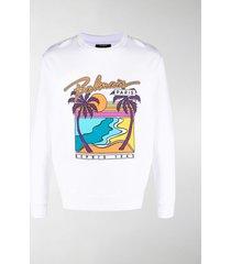 balmain graphic print long-sleeved sweatshirt