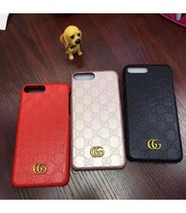 fashion style 2017 leather monogram gu case cover for apple iphone7 iphone8 plus