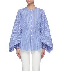 'golding' drape sleeve cinch waist collarless stripe cotton blend shirt
