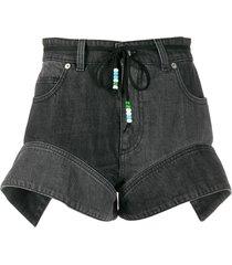 jw anderson flared cuff denim shorts - black