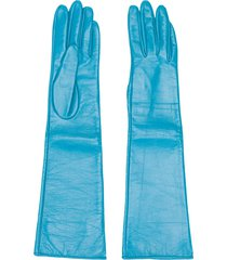 manokhi textured style long gloves - blue
