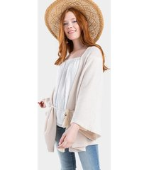 quinn belted knit kimono - ivory