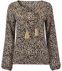 top aop leopard & cord tassels l/s