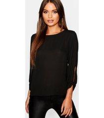 bow sleeve woven blouse, black