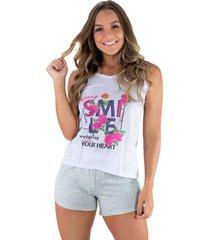 pijama mvb modas adulto estampado shortdoll cinza lilás.