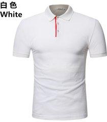 camiseta de solapa de casual tops hombre verano nuevo polo casual-blanco