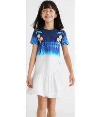 cotton dress flounce hem - white - 13/14