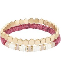 gold flash plated red and white disk bead bracelet set