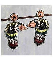 glass bead dangle earrings, 'woodpecker delight in black' (india)