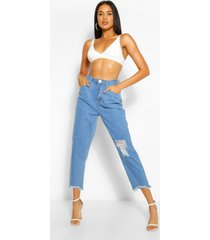versleten mom jeans met gerafelde zoom en hoge taille, lichtblauw