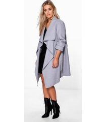 plus wool look wrap front coat, grey