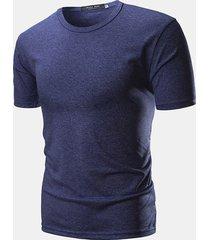 magliette casual da uomo a manica corta in tinta unita
