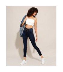 calça cigarrete jeans cintura super alta sawary azul escuro