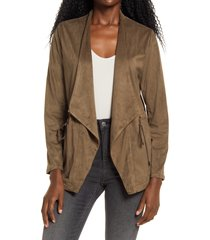 women's blanknyc faux suede drapey jacket, size large - grey