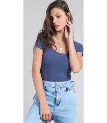 blusa feminina básica canelada manga curta decote v azul marinho